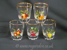 Shot Glasses  A Set of Five Glasses Vintage Shot Glasses Fruit