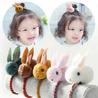 Kids Girls Elastic Hair Rope Plush Rabbit Pompom Hairpin Clips Ponytail Holder