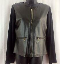 CENTRAL FALLS Womens Black Leather Jacket Knit Sleeves/Back Full Zip Sz M Medium