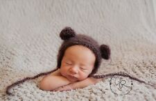 Super cute handmade crochet Teddy bear Bonnet.  Photo photography prop. Newborn.