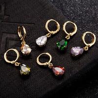 Simple Women 18K Yellow Gold Plated Teardrop Cubic Zirconia Dangle Hoop Earrings