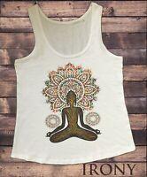 Women's Vest Aztec Yoga Top Buddha Chakra Meditation Zen Print TWA1753