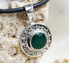 Kettenanhänger 2,6 cm Silber Smaragd Grün Facettiert Floral Verspielt Antik Edel