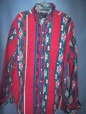 Wrangler vintage Western Cowboy Cut Navajo print LS shirt Rockabilly 16 1/2 35