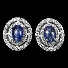 Ohrringe Kyanit & CZ 925 Silber 585 weißvergoldet