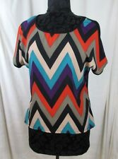 Shalom Womens Top Short Sleeve Chevron Office Casual Size L USA #N1