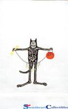 Patience Brewster Krinkles Halloween Boney Cat Tea Towel