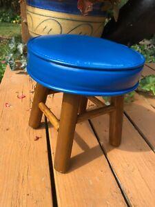 Vtg Mid Century MCM Round BLUE Vinyl Foot Stool OTTOMAN Chunky Wood Legs Retro