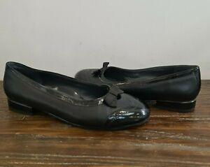 ARA womens ballet flat low heel shoe with patent toe & bow size 7 G EU 41 AU 9.5