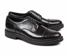 BRUNELLO CUCINELLI Shell Cordovan Leather Black Derby Shoe US 9 EU 42 NEW BB99