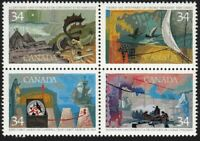 EXPLORATION OF CANADA - 1 = ONE Se-tenant block of 4 Canada 1986 #1107a MNH VF