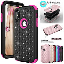 Bling Rhinestone Diamond Hybrid Case Cover For iPhone X XS 11 12 Pro Max 6 7 8