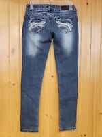 Twentyone Black rue21 Women's Low Rise Skinny Distressed Blue Jeans Size 1/2 Reg