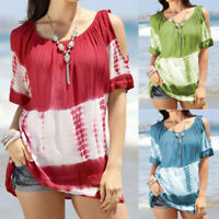 Women's Printed Cold Shoulder Tops Tee Ladies Casual Loose Short Sleeve T-Shirt