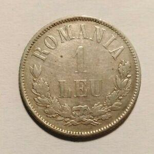1873 Romania 1 Leu Silver Coin AU