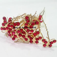 12pcs Bridal Rhinestone Gold PlatedButterfly Crystal Hair U Pins,Accessories