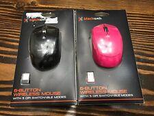 BlackWeb Wireless Mouse Combo 6 Button Bluetooth Laptop Computer PC Pink/Blk