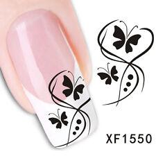 Nail Art Sticker Water Decals Transfers Stickers Butterflies Flowers (XF1550)