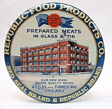 1920's REPUBLIC FOOD PRODUCTS CO. MEAT Chicago paperweight pocket mirror *