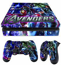 Ps4 Slim Pelle AVENGERS IRON MAN THOR HULK + Controller Decalcomanie in vinile NEW stendere