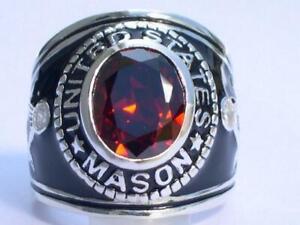 12X10 mm United States Mason Masonic January Red Garnet Stone Men Ring Size 11
