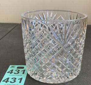 """Clear Crystal 4"""" Cylinder Vase Candy Dish w/Diamond Lattice Cut & Fan Design"""