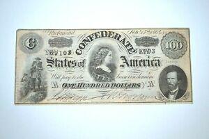 Original 1864 Lucy Pickens Confederate States $100 Bill Note Richmond NICE