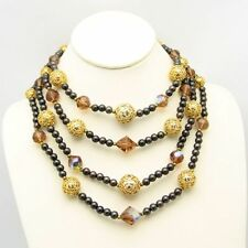 Vintage 4 Multi Strand Necklace Swarovski Topaz AB Crystal Glass Bead Gold Plate