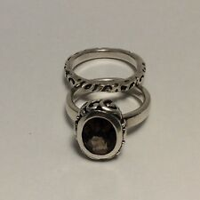 Silpada Smoky Quartz 2 -Stack Sterling Silver R1384 Ring & Bands Set - Size 6.75