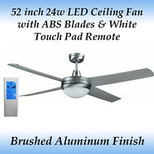 Rotor 52 inch LED Ceiling Fan in Brushed Aluminum with ABS Blades + Wh Touch Rem