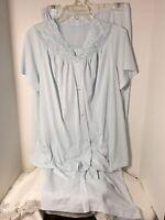 VTG Shadowline Womens Silky Nylon Pajama Pant Set Top Bottoms Sz 38 Large Blue