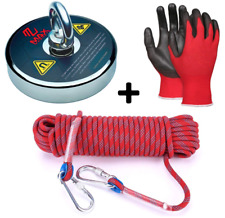 Max Magnets Fishing Magnet Kit 1300 Lb Heavy Duty Rope 2 Carabiners Gloves