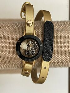 "Origami Owl Gold Metallic Leather Wrap 6 - 7 1/4"" w/ Black Twist Locket & Charms"