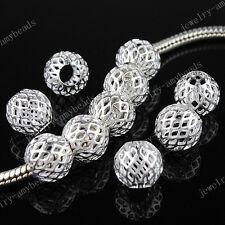 50pcs Mesh Net Ball Charm Spacer Loose Big Hole Beads Fit European Bracelet