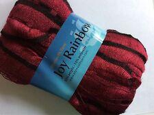 Plymouth JOY RAINBOW #14 Red & Black Ruffling Ladder-Edge Scarf Yarn 100 Gram