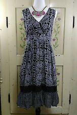Womens Size M Sun Dress  Sleeveless Cotton Black & White Floral Ruffle Bottom