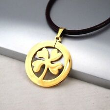 Gold Irish Celtic Four Leaf Clover Pendant Womens Mens Black Leather Necklace