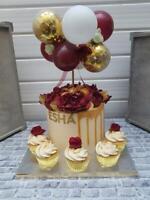 BALLOON CAKE TOPPER ARCH CONFETTI BRIDE BIRTHDAY WEDDING ENGAGE BURGUNDY GOLD