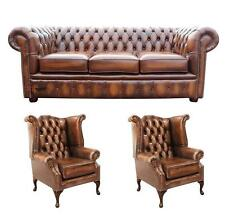 Chesterfield 3 Seater + Wing + Wing Chairs Antique Tan Leather Sofa Settee Suite