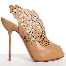 CHRISTIAN LOUBOUTIN Markesling 120 brown leather laser cut bootie EU37.5 US7.5