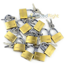 "Lot of 12 Small 1"" Inch Key Padlock Mini Tiny Brass Lock Luggage Toolbox Jewelry"