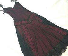 Betsey Johnson VTG Black Grunge Goth Sheer Lace FUCHSIA LINED  Bodycon  Dress M