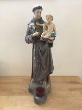 "Saint St Anthony of Padua Holding Baby Jesus 22"" Religious Plaster Statue Shrine"