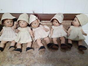 """Vintage 1930s Madame Alexander Composition Dionne Quintuplets Baby Doll Set 8"""""""