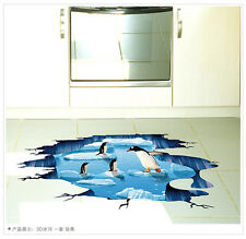 3D Vinyl Decal Penguins Ocean Window Floor Removable Wall Sticker room Decor DIY
