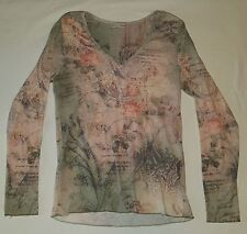 Womens xcit u.s.a. pink/green ~ rose/clock print long sleeve shirt sz small