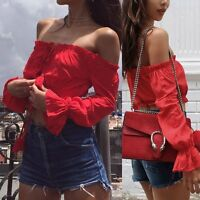 Fashion Women Summer Off Shoulder Long Sleeve Loose Blouse Casual Shirt Crop Top