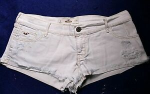 HOLLISTER white distressed stretch cotton low rise short length cutoff shorts #9
