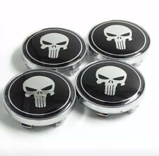 "4pcs 56mm 2.25"" Skull Punisher Car Wheel Tire Center Hub Caps Covers Black"