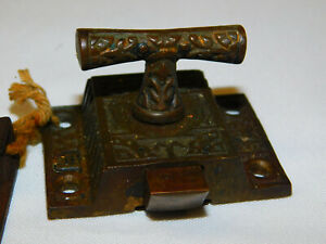 """Antique Cabinet Latch Iron And Brass Hardware """"N"""""""